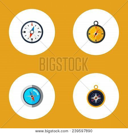 Icon Flat Direction Set Of Divider, Measurement Dividers, Compass And Other  Objects. Also Includes