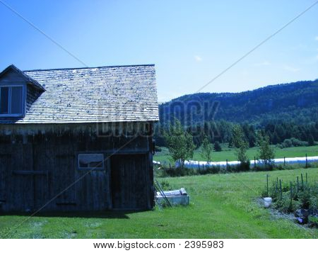 Old House And Mountain