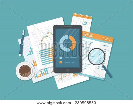 Mobile Auditing, Data Analysis, Statistics, Research. Phone With Information On The Screen, Document