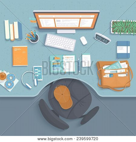 Top View Of Workplace. Table With Recess, Armchair, Monitor, Books, Notebook, Headphones, Phone, Pap