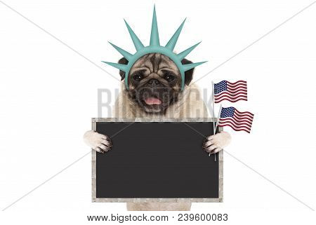 Smiling Pug Puppy Dog Holding Up American Flag And Blank Blackboard Sign, Wearing Lady Liberty Crown