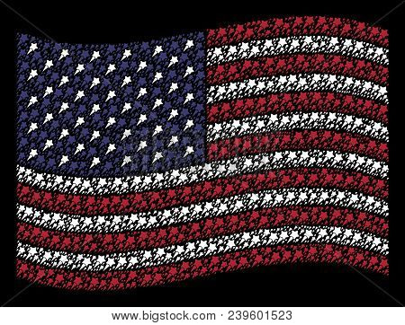 Starting Star Symbols Are Organized Into Waving American Flag Abstraction On A Dark Background. Vect