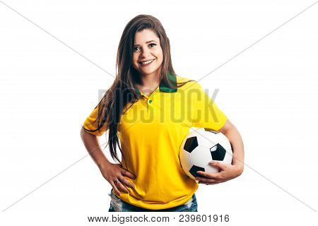 Woman Soccer Fan With Ball Isolated On White Background