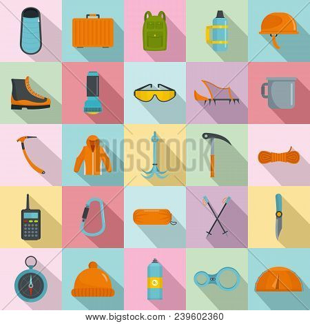 Mountaineering Equipment Icons Set. Flat Illustration Of 25 Mountaineering Equipment Vector Icons Fo