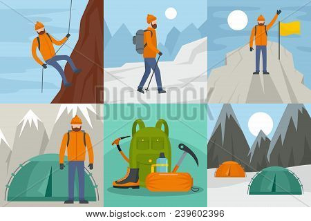 Mountaineering Equipment Man Banner Concept Set. Flat Illustration Of 6 Mountaineering Equipment Man