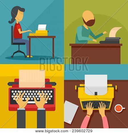Typewriter Machine Keys Old Keyboard Banner Concept Set. Flat Illustration Of 4 Typewriter Machine K