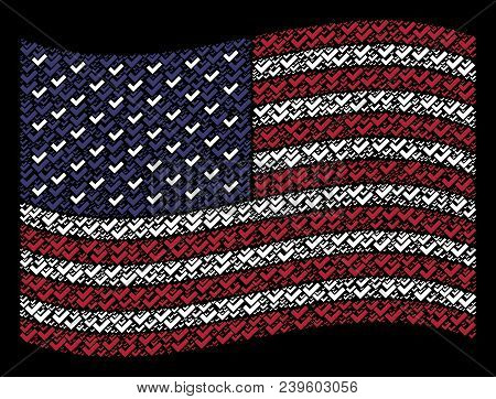 Yes Pictograms Are Combined Into Waving United States Flag Abstraction On A Dark Background. Vector