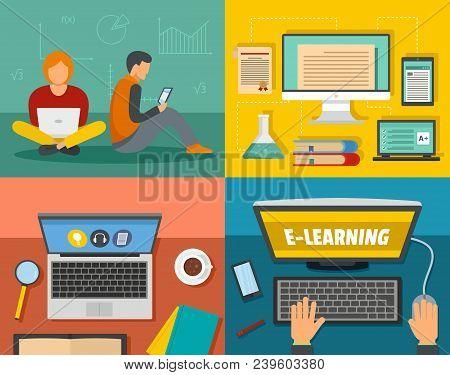 E-learning Online Training Education Banner Concept Set. Flat Illustration Of 4 Electronic Learning