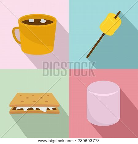 Marshmallow Smores Candy Icons Set. Flat Illustration Of 4 Marshmallow Smores Candy Vector Icons For