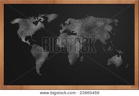 World Map On Blackboard
