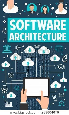 Internet Cloud Data Or Software Architecture Technology Or Digital Programming Poster. Vector Flat D