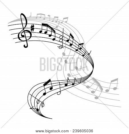 Musical Staff Or Music Stave Icon Of Notes And Clef For Music Concert. Vector Poster Design Of Music