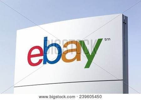Viby, Denmark - April 8, 2018: Ebay Logo On A Panel. Ebay Is An American Multinational Corporation A
