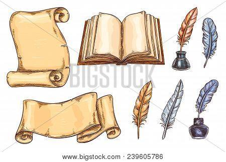 Old Vintage Books And Literature Writing Stationery Sketch Icons Set. Vector Design For Rarity Books