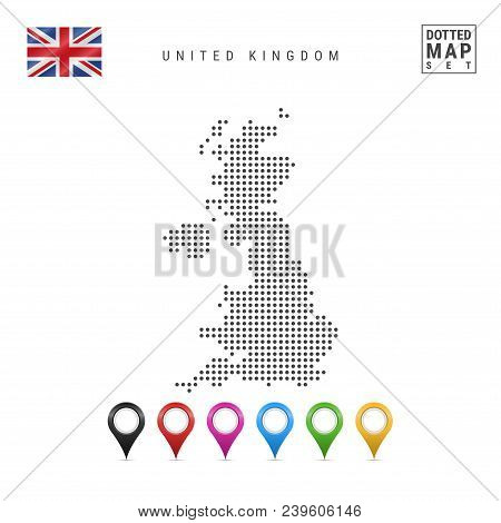 Dotted Map Of United Kingdom. Simple Silhouette Of United Kingdom. The National Flag Of United Kingd
