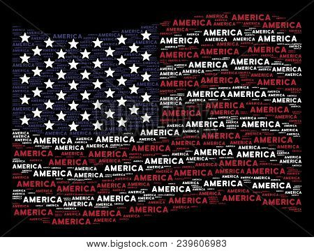 America Text Items Are Arranged Into Waving Usa Flag Abstraction On A Dark Background. Vector Concep