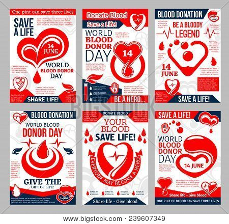 Donate Blood Promo Poster For Blood Donor Center And Transfusion Laboratory Template. Heart With Red
