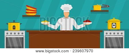 Chef Master Cooking Banner Horizontal. Flat Illustration Of Vector Chef Master Cooking Banner Horizo