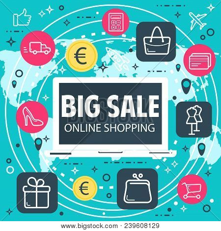 Online Shopping And Internet Sale Buy Poster For Web Shop Or Store Technology. Vector Flat Design Of