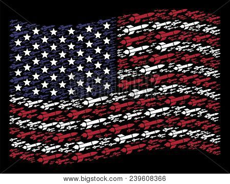Missile Launch Items Are Grouped Into Waving American Flag Abstraction On A Dark Background. Vector
