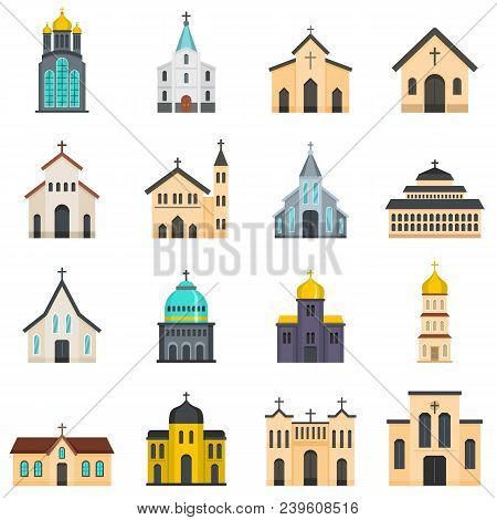 Church Building Icons Set. Flat Illustration Of 16 Church Building Vector Icons Isolated On White