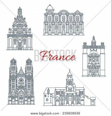 France Famous Travel Landmark Buildings And Marseilles Architecture Sightseeing Line Icons. Vector S
