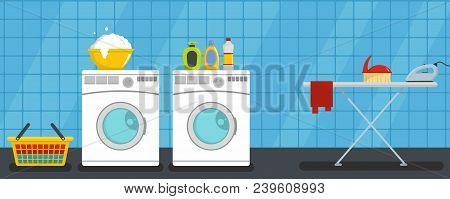 Interior Laundry Banner Horizontal. Flat Illustration Of Vector Interior Laundry Banner Horizontal F