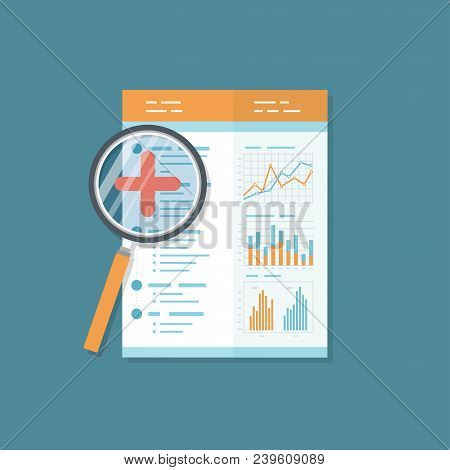 Financial Auditing Report, Document With Magnifying Glass. Audit Result.  Isolated Icon. Charts Grap