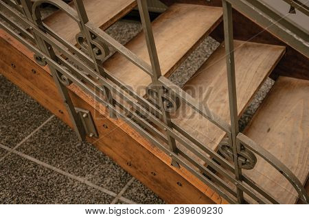 Brussels, Central Belgium - July 04, 2017. Wooden And Iron Art Nouveau Staircase In An Old Building,