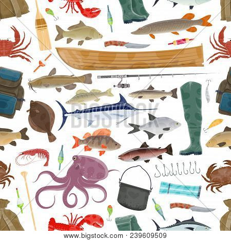 Fishing Seamless Pattern Of Fisherman Equipment And Fish Catch. Vector Pattern Background Of Tackles