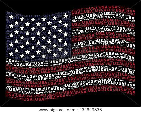 Usa Text Items Are Organized Into Waving Usa Flag Stylization On A Dark Background. Vector Collage O
