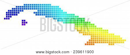 Spectrum Cuba Map. Vector Dotted Geographic Map In Bright Spectrum Colors With Circular Gradient. Mu
