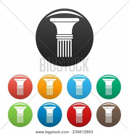Fluted Column Icon. Simple Illustration Of Fluted Column Vector Icons Set Color Isolated On White
