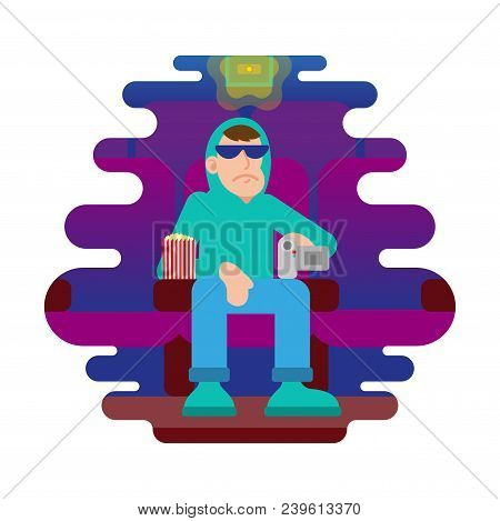 Young Angry Man Thief In Sunglasses And Hoodie Sit In Cinema Movie Session And Try Illegal To Video