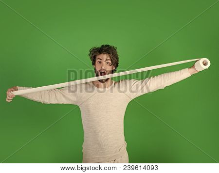 Man In Underwear With Disheveled Hair, Morning. Man With Surprised Face Hold Toilet Paper, Single. S