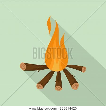 Camping Fire Icon. Flat Illustration Of Camping Fire Vector Icon For Web Design