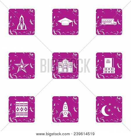 School Yard Icons Set. Grunge Set Of 9 School Yard Vector Icons For Web Isolated On White Background