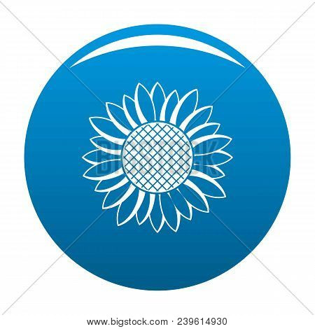 Nice Sunflower Icon. Simple Illustration Of Nice Sunflower Vector Icon For Any Design Blue