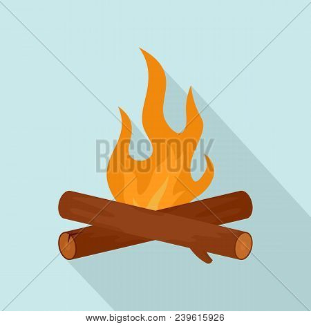 Simple Camp Fire Icon. Flat Illustration Of Simple Camp Fire Vector Icon For Web Design