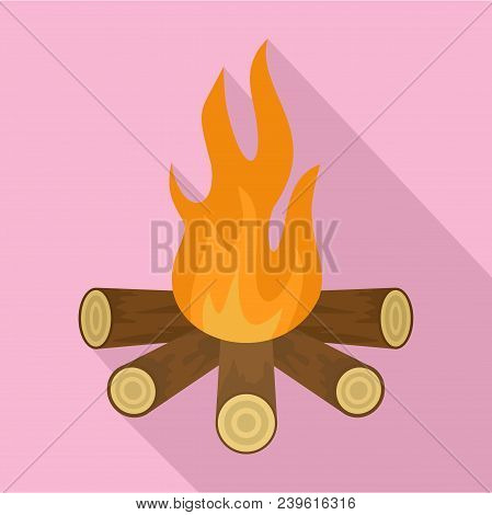 Star Camp Fire Icon. Flat Illustration Of Star Camp Fire Vector Icon For Web Design