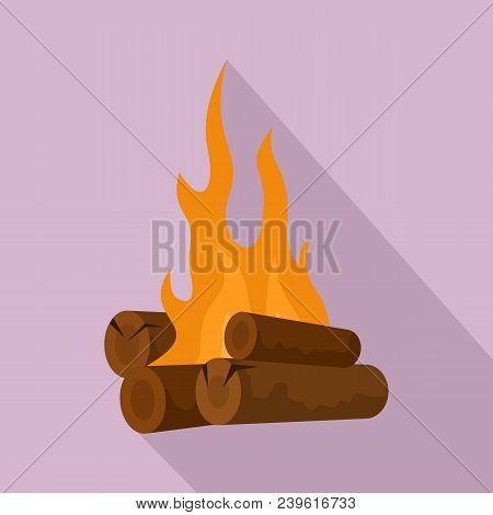Long Camp Fire Icon. Flat Illustration Of Long Camp Fire Vector Icon For Web Design