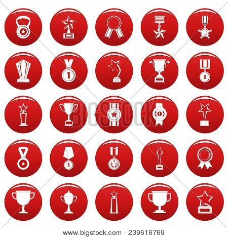 Medal Award Icon Set. Simple Illustration Of 25 Medal Award Vector Icons Red Isolated
