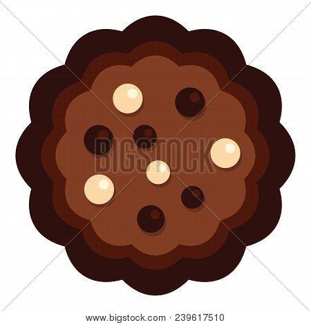 Half Chocolate Biscuit Icon. Flat Illustration Of Half Chocolate Biscuit Vector Icon For Web