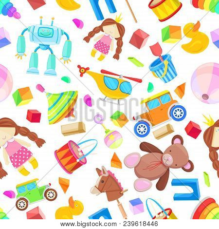 Kids Toys Vector Seamless Pattern. Color Toy For Baby Boy And Girl, Cartoon Illustration. Cute White