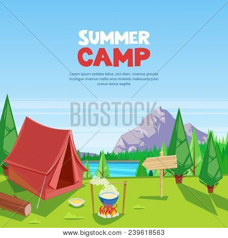 Summer Camping Vector Cartoon Illustration. Adventures, Travel And Eco Tourism Concept. Touristic Ca