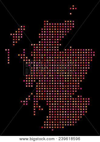 Dot Scotland Map. Vector Geographical Plan In Red Color Shades On A Black Background. Abstract Colla