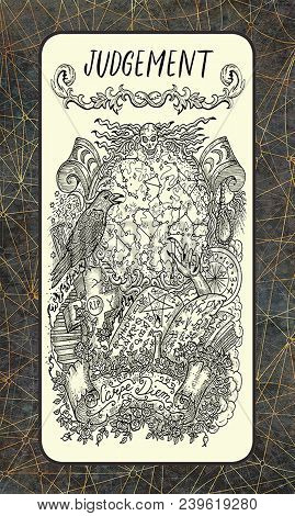 Judgement. Major Arcana Tarot Card. The Magic Gate Deck. Fantasy Engraved Illustration With Occult M
