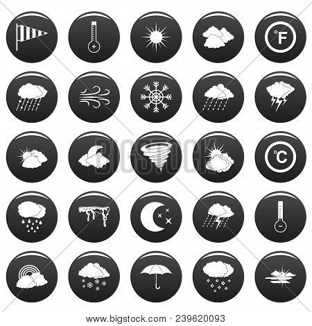 Weather Icons Set. Simple Illustration Of 25 Weather Vector Icons Black Isolated