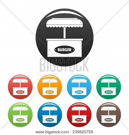 Burger Selling Icon. Simple Illustration Of Burger Selling Vector Icons Set Color Isolated On White