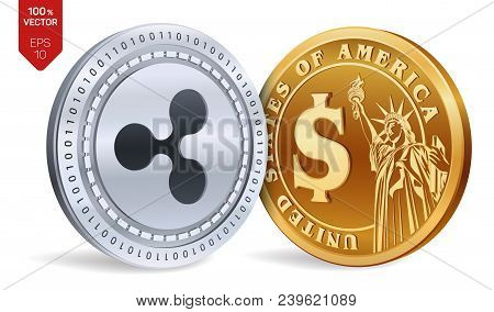 Ripple. Dollar Coin. 3d Isometric Physical Coins. Digital Currency. Cryptocurrency. Golden And Silve